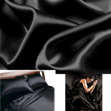 BLACK - SATIN Deep Pocket SHEETS QUEEN Size Soft Silk Bedding 4pc Set Luxury Bed
