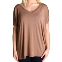 Mocha Piko V-Neck Short Sleeve Top