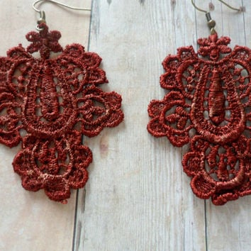 Marsala Burgundy Lace Dangle Earrings, Anthropologie Style Earrings, Shabby Chic Earrings, Red Rustic Earrings