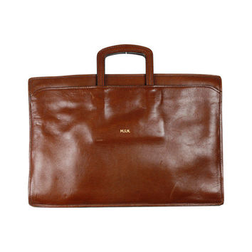 vintage leather folio case / California Saddle Leather / light brown / top handle briefcase / leather mens bag