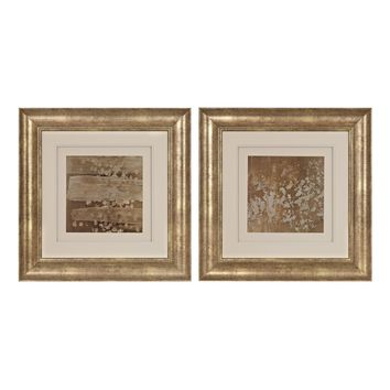 Golden Rule Shadow Box I, II - Limited Edition Print Under Glass Hand Rubbed Gold Leaf With Antique
