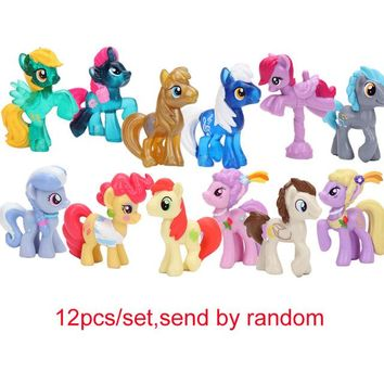 12pcs/set My Little Pony Toys Mini Pony PVC Action Figures Set Rainbow Dash Twilight Sparkle Apple Jack Spike the Dragon Dolls