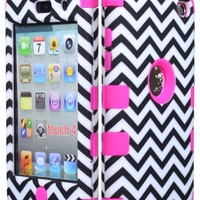 Bastex Hybrid Hard Case for Apple Ipod Touch 4, 4th Generation - Hot Pink Silicone with Black & White Chevron Pattern