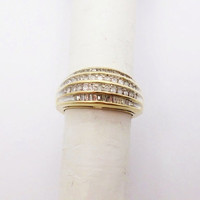 Gold Cannel Set Diamond Band Cocktail Ring