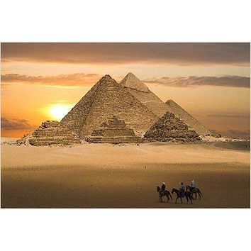 THE PYRAMIDS photo poster EGYPT sand sky mystery HISTORIC BEAUTY 24X36 rare
