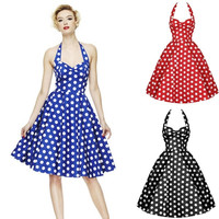 Summer Style Retro Woman Vintage Dress Big Swing Polka Dot Backless Rockabilly Plus Size = 1947053380