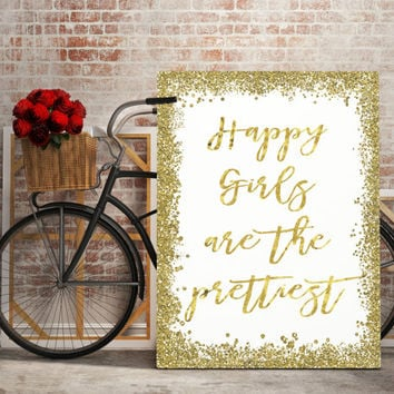 Audrey Hepburn quote, printable for nursery,gold foil, bedroom art, pretty printable girls room,Happy Girls Are The Prettiest print