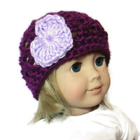"Purple Heart Doll Hat 18"" Inch Doll Beanie"