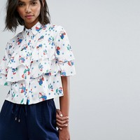 Lost Ink Cropped Shirt With Frills In Print at asos.com