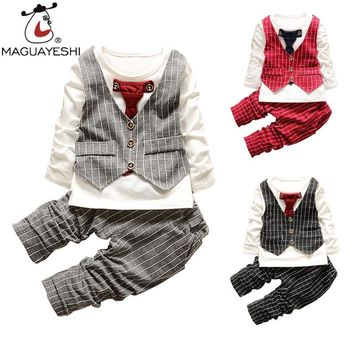 Baby Clothing Set Gentleman Bow Tie Wedding Children Clothes Set Long Sleeve T-Shirt+Striped Pants Outfits Suits Boys Clothing