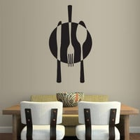 rvz1698 Wall Decal Vinyl Sticker Decals Kitchen Spoon Fork Knife Plate Fashion