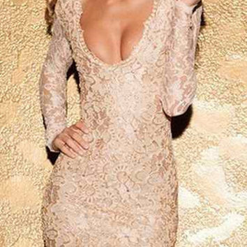 Yellowish Pink Lace Deep V Backless Bodycon Dress