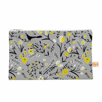 "Laura Nicholson ""Blackbirds On Gray"" Gray Yellow Everything Bag"