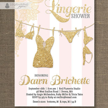Pink & Gold Lingerie Shower Invitation Gold Glitter Lace Pink Stripes Modern Bridal Personal Shower DIY Digital or Printed - Dawn Style