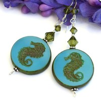 Sea Horse Handmade Earrings, Turquoise Khaki Swarovski Crystal Artisan Beach Jewelry