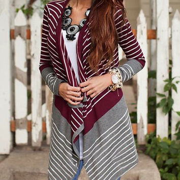 Gray and Maroon Collarless Stripe Asymmetrical Cardigan