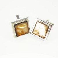 Sarah Coventry Silver Tone Cuff Links, Square with Mother of Pearl Cufflinks, T-bar Style Mens Accessory, Vintage 1960s 1970s, Gift for Him