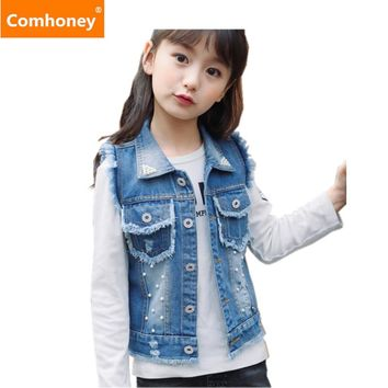 Boys Vest Denim 3-12Y Ripped Coat Girls Denim Kids Cowboy Vest Waistcoat Sleeveless Jean Jackets For Kids Children Outerwear