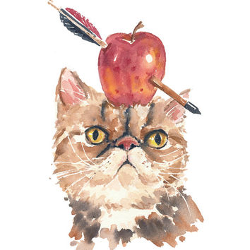 Persian Cat Watercolor - ORIGINAL Watercolor Painting, Archery, Food Art, Arrow, 8x10 Painting