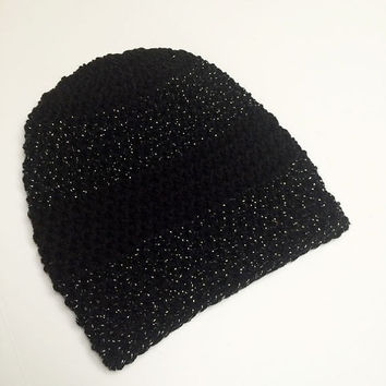 FREE SHIPPING - Supa Slouch, Crochet Slouchy Hat, Beanie - Black, Sparkle, Silver
