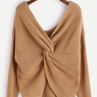 Khaki V Neck Knot Long Sleeve Sweater