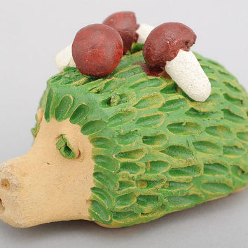 Handmade original ceramic penny whistle in the form of hedgehog decorative gift