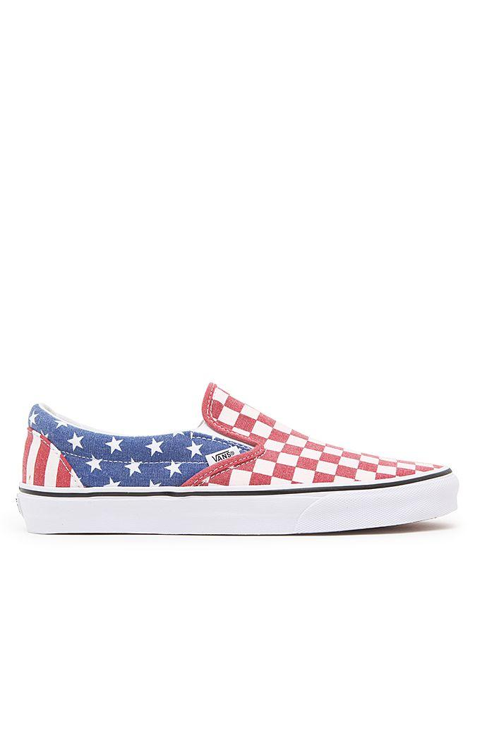 Vans Classic Slip-On Shoes - Mens Shoes - Red White Blue 67a278e2c