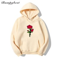 men's autumn winter new clothes hoodie pocket Cloth Rose Print sweatshirt men 9 color