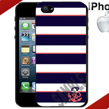 iPhone 4 Case  Navy Coral Anchor Stripes  iPhone by CrazianDesigns