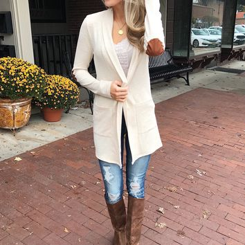 As Long As You Need Elbow Patch Cardigan- Cream