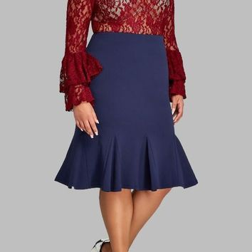 Dark Blue Patchwork Pleated Plus Size Mermaid High Waisted Cocktail Party Cute Skirt