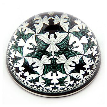Escher Angels and Bats Devils Interlocking Tessellation Glass Dome Paperweight 3W