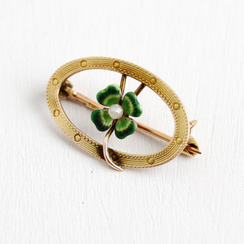 Antique 10k Yellow Gold Four Leaf Clover Pin- Vintage Early 1900s Green Enamel Seed Pearl Tiny Brooch Fine Jewelry