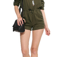Army Green V-Neck Roll Up Sleeve Drawstring Romper