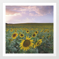 Happy sunflowers Art Print by Guido Montañés