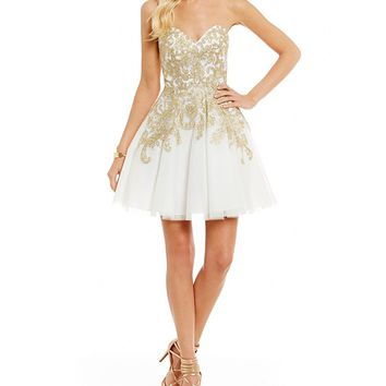 B. Darlin Strapless Embroidered Party Dress | Dillards