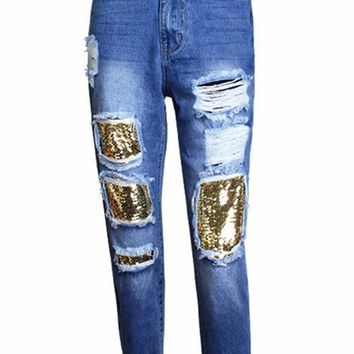 Blue Patchwork Sequin Pockets Buttons Fashion Long Jeans
