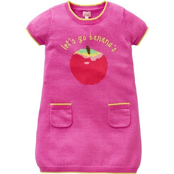 "Room Seven - Girls Pink Cotton Knitted Dress ""Let's Go Bananas"""