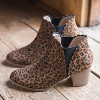 Scalloped Edge Bootie, Leopard