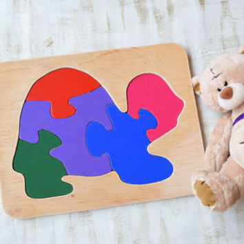 Wood puzzle Turtle Montessori Toy wooden educational game Waldorf toys animal baby toys wooden puzzles Baby Shower Gift toddler learning