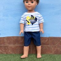 18 Inch Boy Doll Shark T-shirt and Blue Jean Shorts, Screenprint T-shirt, White and Blue Striped Shirt and Blue Denim Shorts, Upcycled