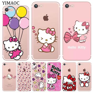 YIMAOC lovely cute Hello Kitty Pink Soft Silicone Phone Shell Case for iPhone X XS Max XR 5 5S SE 6 6S 7 8 Plus 10 TPU Cover