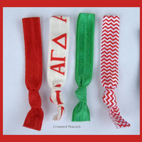 ALPHA GAMMA DELTA Sorority Elastic Hair Ties - No Bump, Yoga Hair Ties, Red HairBands, Can choose colors