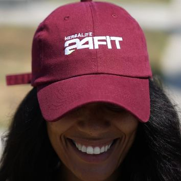 Herbalife 24 FIT polo dad hat, crimson w/white