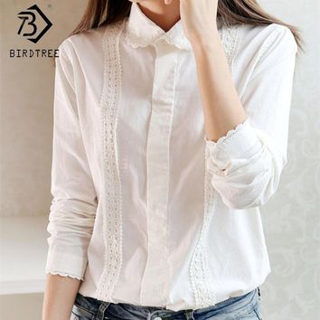 White Blouse Button Up Lace  Long Sleeve Cotton Top  Plus Size S-XXL