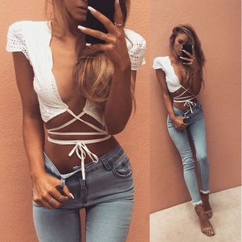 Women Strappy Bandage Erotic Sexy Braleete Bra Women Tank Vest T-Shirt Top