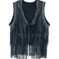 Leather Fringed Vest with Rivet Decor