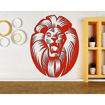 Wall Sticker Vinyl Decal Lion Head Medallion Animal Decor Big Cat Hunter Unique Gift (m413)