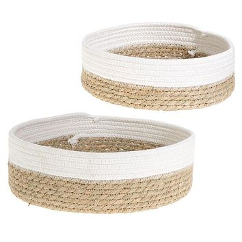Grass and Rope Round Trays - Set of 2 -- 12-in