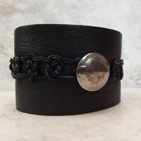 Extra Wide Black Leather Cuff:  Buffalo Nickel Men's Coin Bracelet, Macrame Celtic Knot Bracelet, Biker Unisex Jewelry, Made to Order